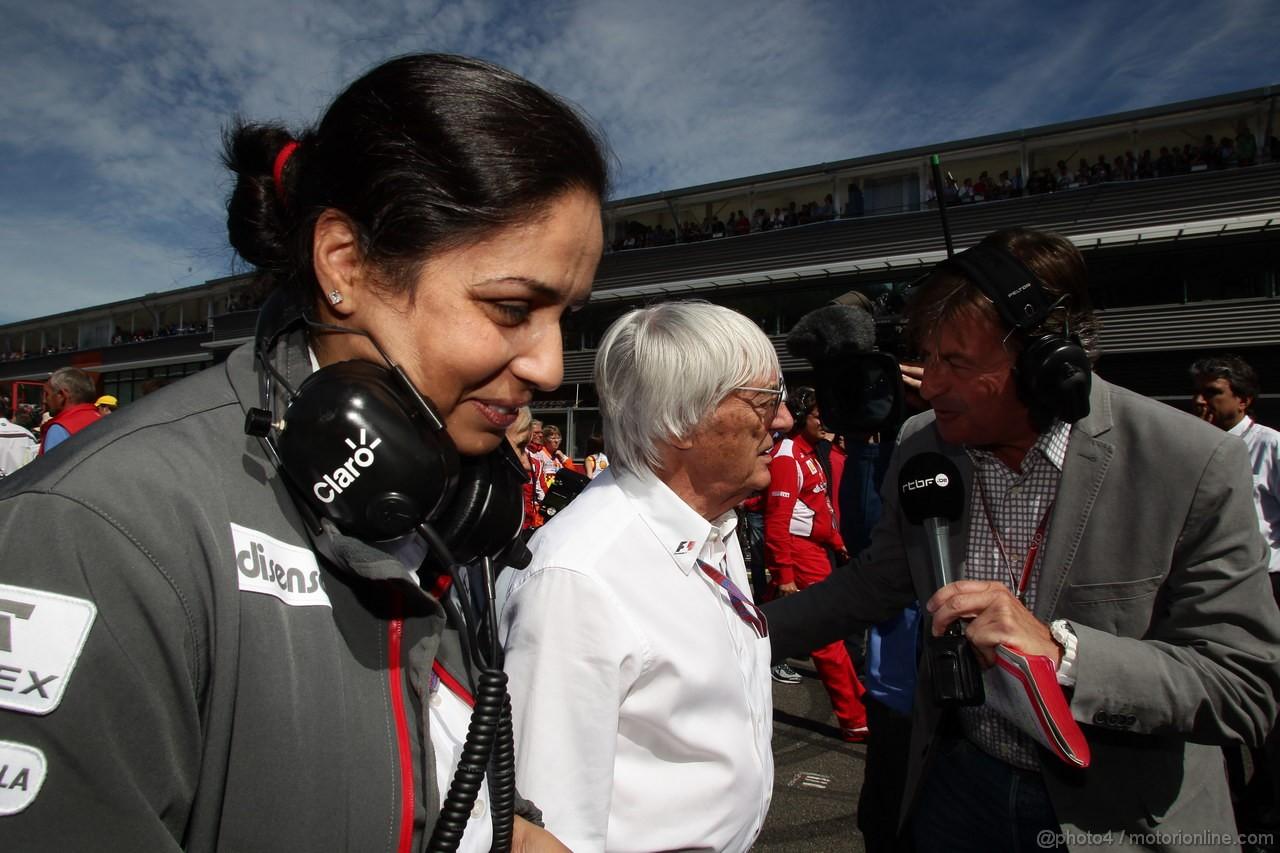 GP BELGIO, 02.09.2012- Gara, Monisha Kaltenborn (AUT), Chief Executive Officer, Sauber F1 Team e Bernie Ecclestone (GBR), President e CEO of Formula One Management