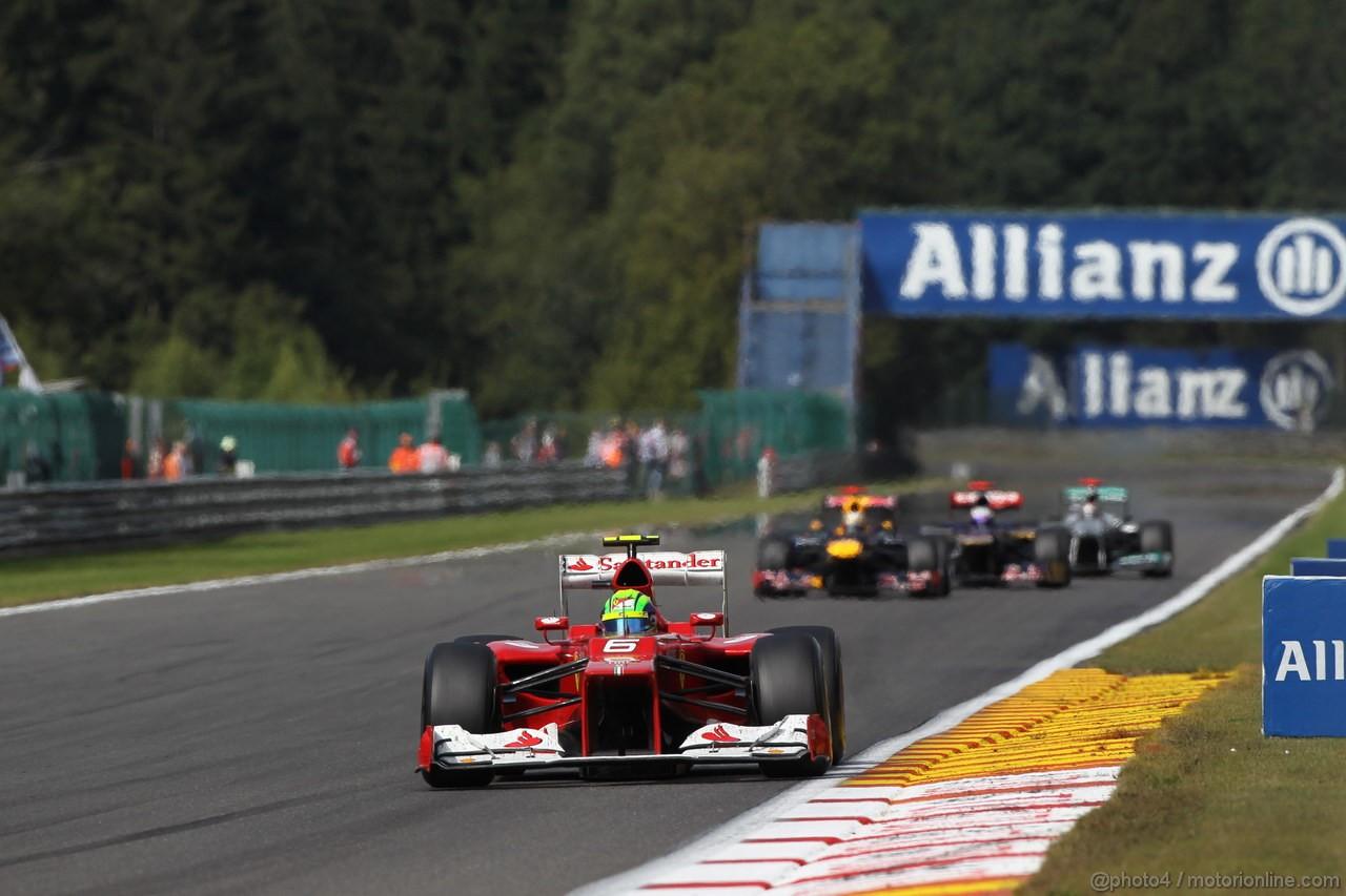 GP BELGIO, 02.09.2012- Gara, Felipe Massa (BRA) Ferrari F2012