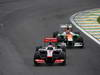 GP BRASILE, 25.11.2012- Gara, Jenson Button (GBR) McLaren Mercedes MP4-27 e Nico Hulkenberg (GER) Sahara Force India F1 Team VJM05