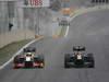 GP BRASILE, 25.11.2012- Gara, Pedro de la Rosa (ESP) HRT Formula 1 Team F112 e Heikki Kovalainen (FIN) Caterham F1 Team CT01