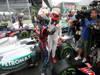 GP BRASILE, 25.11.2012- Gara, Sebastian Vettel (GER) Red Bull Racing RB8, world champion 2012 with Michael Schumacher (GER) Mercedes AMG F1 W03