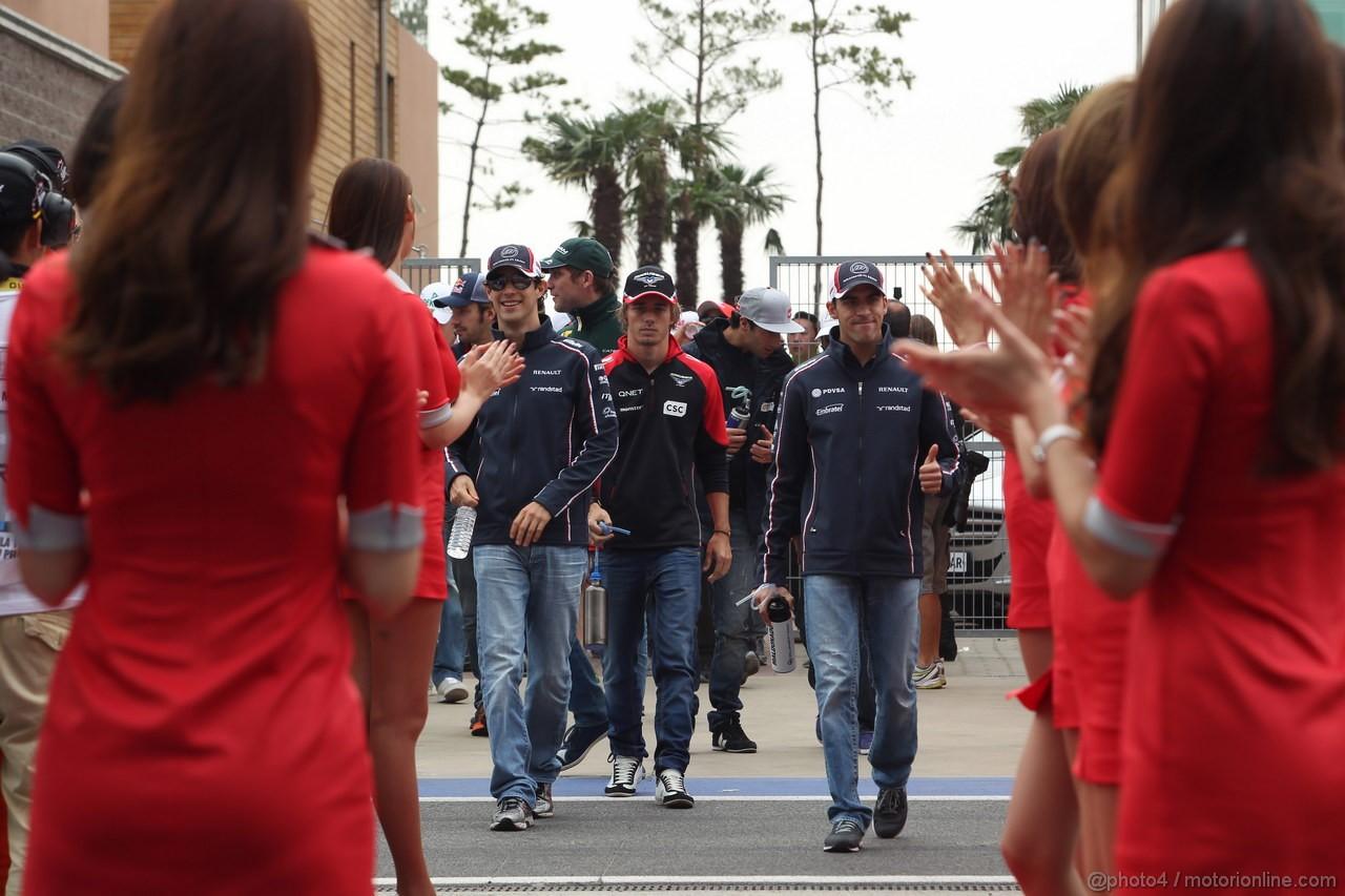 GP COREA, 14.10.2012- Bruno Senna (BRA) Williams F1 Team FW34, Charles Pic (FRA) Marussia F1 Team MR01 e Pastor Maldonado (VEN) Williams F1 Team FW34