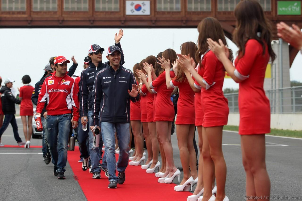 GP COREA, 14.10.2012- Felipe Massa (BRA) Ferrari F2012, Bruno Senna (BRA) Williams F1 Team FW34 e Pastor Maldonado (VEN) Williams F1 Team FW34