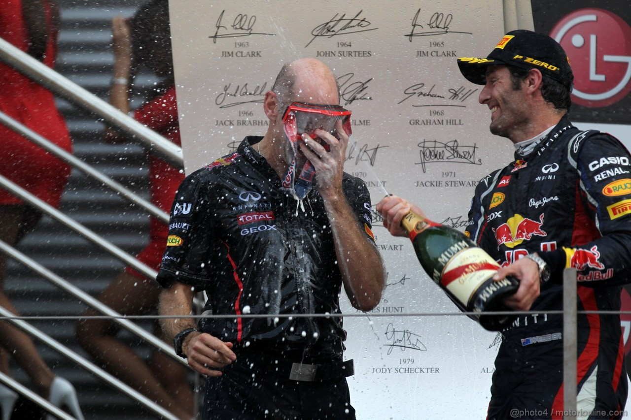 GP COREA, 14.10.2012- Gara, Adrian Newey (GBR), Red Bull Racing , Technical Operations Director e Mark Webber (AUS) Red Bull Racing RB8