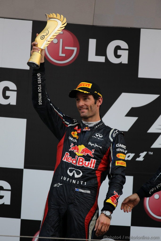 GP COREA, 14.10.2012- Gara, secondo Mark Webber (AUS) Red Bull Racing RB8