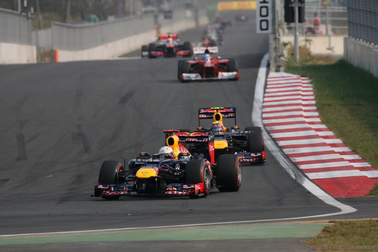 GP COREA, 14.10.2012- Gara,Sebastian Vettel (GER) Red Bull Racing RB8 davanti a Mark Webber (AUS) Red Bull Racing RB8