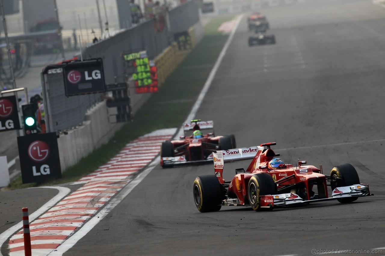 GP COREA, 14.10.2012- Gara, Fernando Alonso (ESP) Ferrari F2012 davanti a Felipe Massa (BRA) Ferrari F2012
