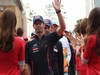 GP COREA, 14.10.2012- Mark Webber (AUS) Red Bull Racing RB8 e Jean-Eric Vergne (FRA) Scuderia Toro Rosso STR7