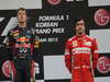 GP COREA, 14.10.2012- Gara, Sebastian Vettel (GER) Red Bull Racing RB8 vincitore e Fernando Alonso (ESP) Ferrari F2012 terzo