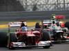 GP COREA, 14.10.2012- Gara, Fernando Alonso (ESP) Ferrari F2012 e Sergio P�rez (MEX) Sauber F1 Team C31