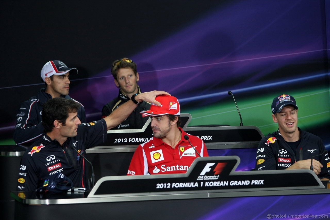 GP COREA, 11.10.2012- Conferenza Stampa, (L-R) Pastor Maldonado (VEN) Williams F1 Team FW34, Romain Grosjean (FRA) Lotus F1 Team E20, Nico Rosberg (GER) Mercedes AMG F1 W03, Mark Webber (AUS) Red Bull Racing RB8, Fernando Alonso (ESP) Ferrari F2012 e Sebastian Vettel (GER) Red Bull Racing RB8