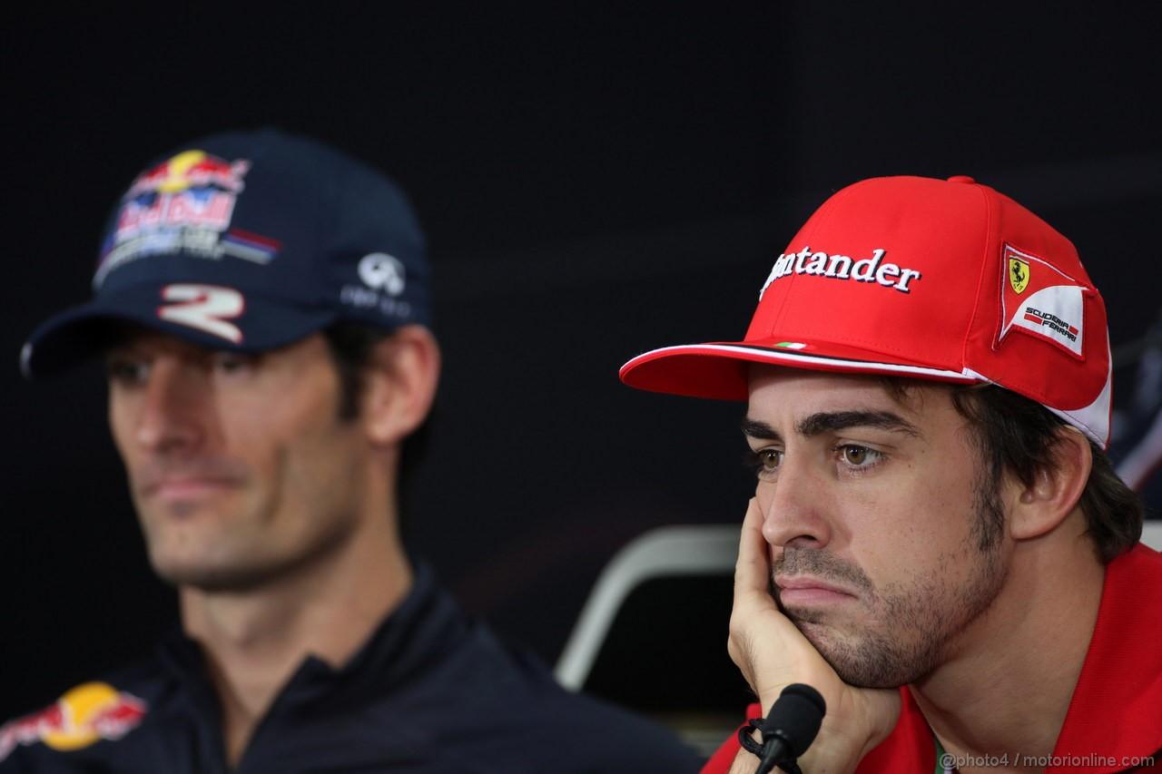 GP COREA, 11.10.2012- Conferenza Stampa, Mark Webber (AUS) Red Bull Racing RB8 e Fernando Alonso (ESP) Ferrari F2012