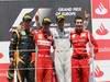 GP EUROPA, 24.06.2012- Gara, Fernando Alonso (ESP) Ferrari F2012 vincitore, secondo Kimi Raikkonen (FIN) Lotus F1 Team E20 e terzo Michael Schumacher (GER) Mercedes AMG F1 W03 with Andrea Stella (ITA) Ferrari Gara Engineer