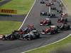 GP GIAPPONE, 07.10.2012- Gara, Romain Grosjean (FRA) Lotus F1 Team E20 e Sergio P�rez (MEX) Sauber F1 Team C31