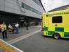 GP GRAN BRETAGNA, 08.07.2012- Gara, Sauber F1 Team mechanic goes to the hospital afer being run over by Kamui Kobayashi (JAP), Sauber F1 Team