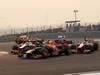 GP INDIA, 28.10.2012- Gara, Mark Webber (AUS) Red Bull Racing RB8 e Jenson Button (GBR) McLaren Mercedes MP4-27