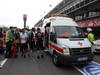 GP SPAGNA, 13.05.2012- A fire in the Williams pit garage after the celebrations is tended to by members of all F1 teams