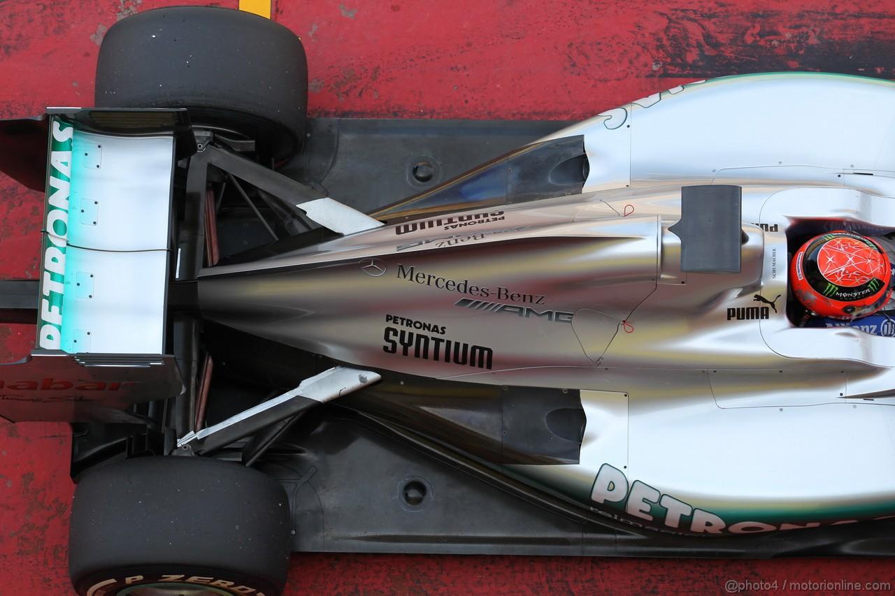 Mugello Test Maggio 2012, Michael Schumacher (GER), Mercedes AMG Petronas engine cover e rear wing  02.05.2012. Formula 1 World Championship, Testing, Mugello, Italy