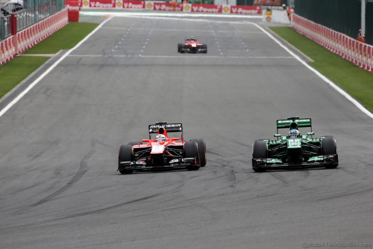 GP BELGIO, 25.08.2013-  Gara, Jules Bianchi (FRA) Marussia F1 Team MR02 e Charles Pic (FRA) Caterham F1 Team CT03