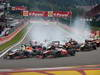 GP BELGIO, 25.08.2013-  Gara, Start of the race, Jenson Button (GBR) McLaren Mercedes MP4-28 e Sebastian Vettel (GER) Red Bull Racing RB9