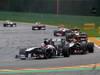 GP BELGIO, 25.08.2013-  Gara, Nico Hulkenberg (GER) Sauber F1 Team C32 davanti a Kimi Raikkonen (FIN) Lotus F1 Team E21