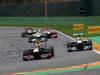 GP BELGIO, 25.08.2013-  Gara, Mark Webber (AUS) Red Bull Racing RB9 e Nico Rosberg (GER) Mercedes AMG F1 W04