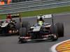 GP BELGIO, 25.08.2013-  Gara, Esteban Gutierrez (MEX), Sauber F1 Team C32 e Kimi Raikkonen (FIN) Lotus F1 Team E21