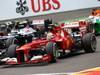 GP BELGIO, 25.08.2013-  Gara, Pastor Maldonado (VEN) Williams F1 Team FW35 e Felipe Massa (BRA) Ferrari F138