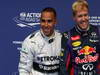 GP BELGIO, 24.08.2013- Qualifiche, Lewis Hamilton (GBR) Mercedes AMG F1 W04 pole position e Sebastian Vettel (GER) Red Bull Racing RB9 secondo