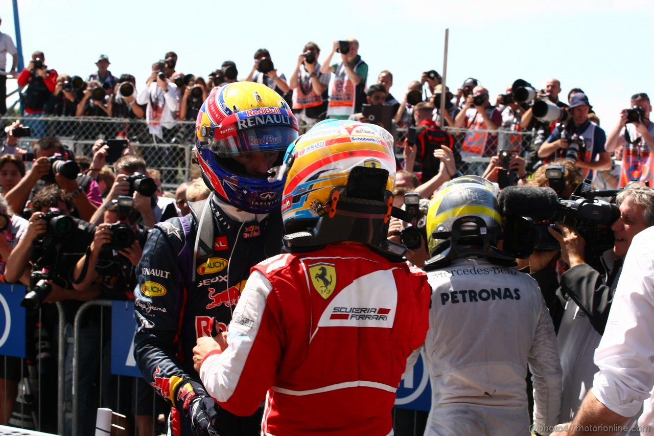 GP GRAN BRETAGNA, 30.06.2013- 2nd Mark Webber (AUS) Red Bull Racing RB9, 3rd Fernando Alonso (ESP) Ferrari F138