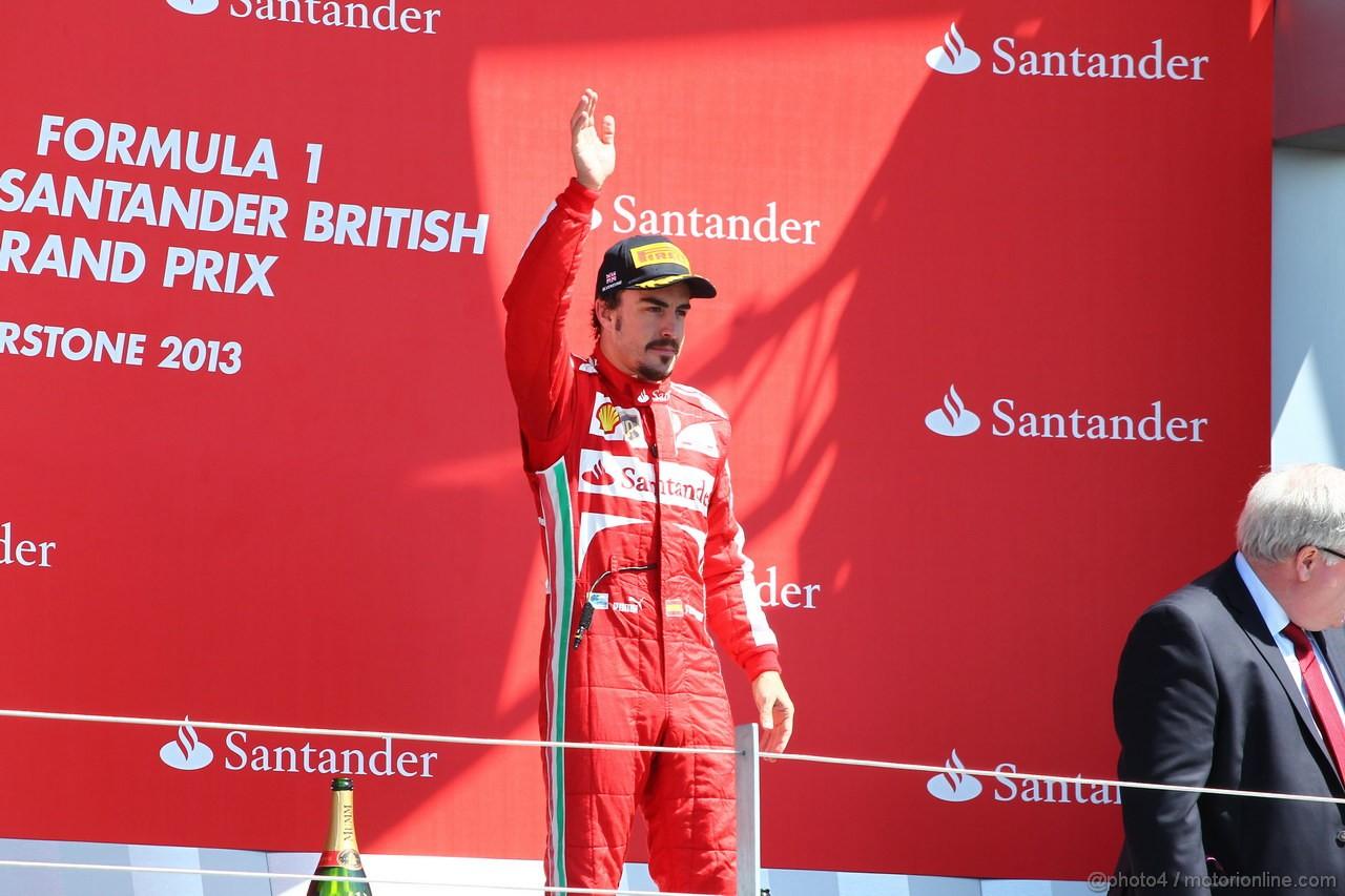 GP GRAN BRETAGNA, 30.06.2013- Podium: 3rd Fernando Alonso (ESP) Ferrari F138