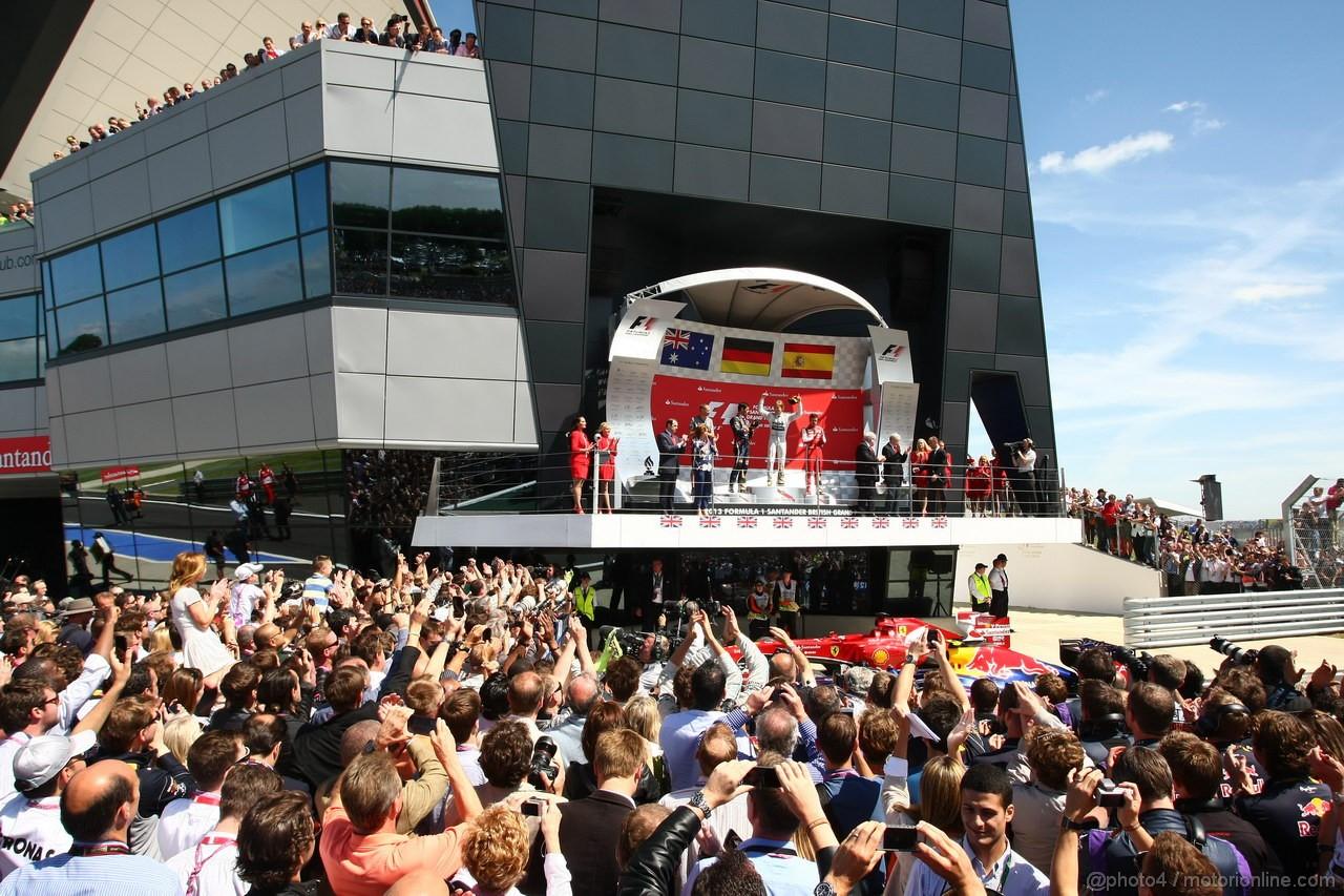 GP GRAN BRETAGNA, 30.06.2013- Podium: winner Nico Rosberg (GER) Mercedes AMG F1 W04, 2nd Mark Webber (AUS) Red Bull Racing RB9, 3rd Fernando Alonso (ESP) Ferrari F138