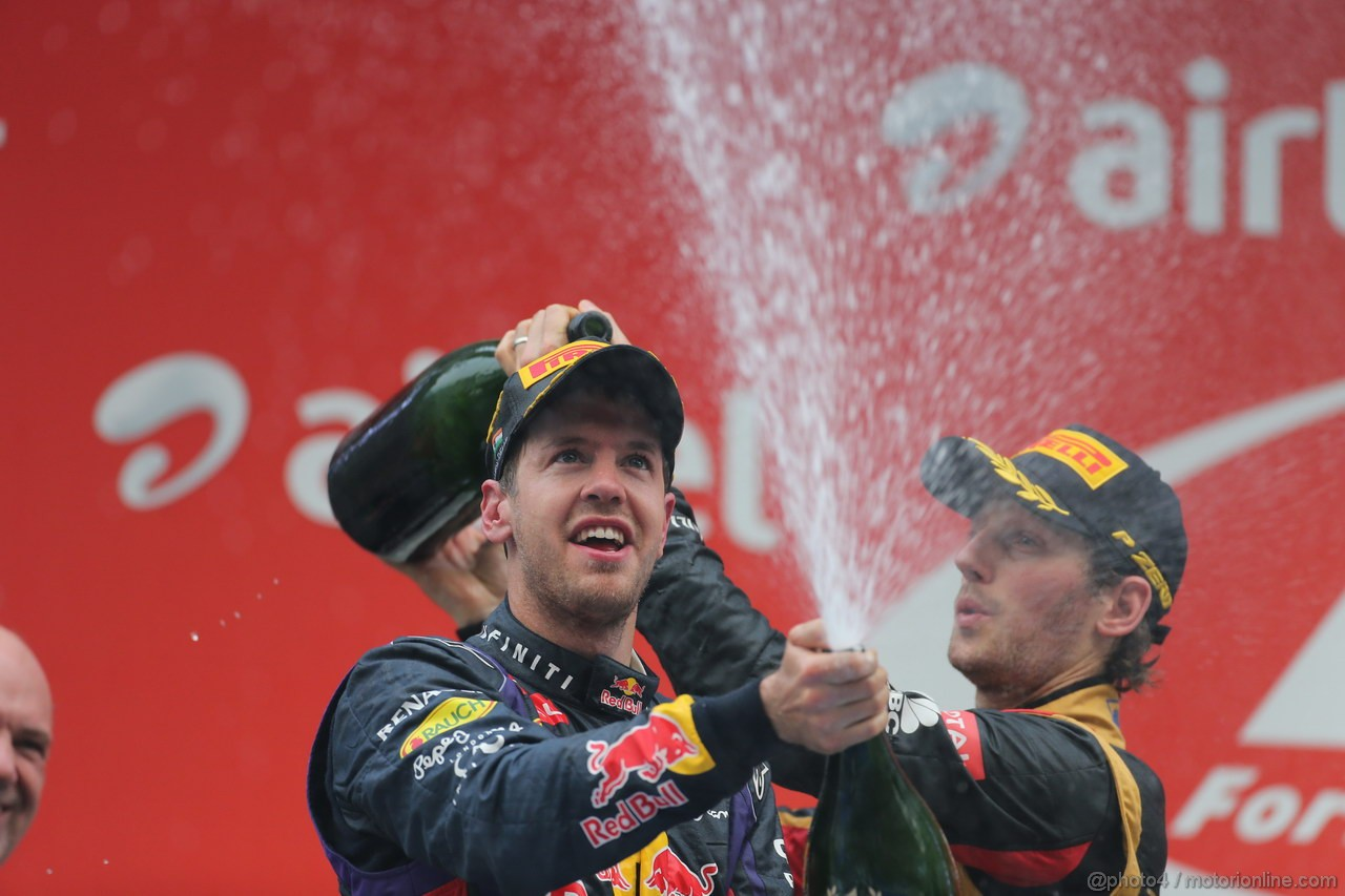 GP INDIA, 27.10.2013- Podium: Sebastian Vettel (GER) Red Bull Racing RB9 (vincitore)