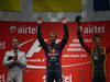 GP INDIA, 27.10.2013- Podium: Sebastian Vettel (GER) Red Bull Racing RB9 (vincitore), Nico Rosberg (GER) Mercedes AMG F1 W04 (secondo) e Romain Grosjean (FRA) Lotus F1 Team E21 (terzo)