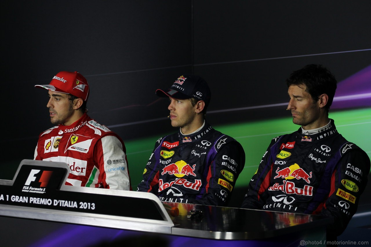 GP ITALIA, Conferenza Stampa: Sebastian Vettel (GER) Red Bull Racing RB9 (vincitore), Fernando Alonso (ESP) Ferrari F138 (secondo) e Mark Webber (AUS) Red Bull Racing RB9 (terzo)