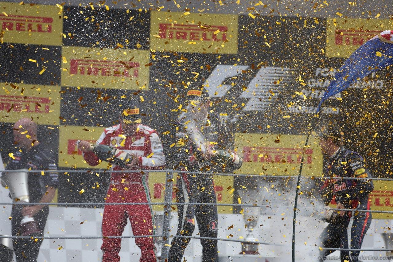 GP ITALIA, Podium: Sebastian Vettel (GER) Red Bull Racing RB9 (vincitore), Fernando Alonso (ESP) Ferrari F138 (secondo) e Mark Webber (AUS) Red Bull Racing RB9 (terzo)