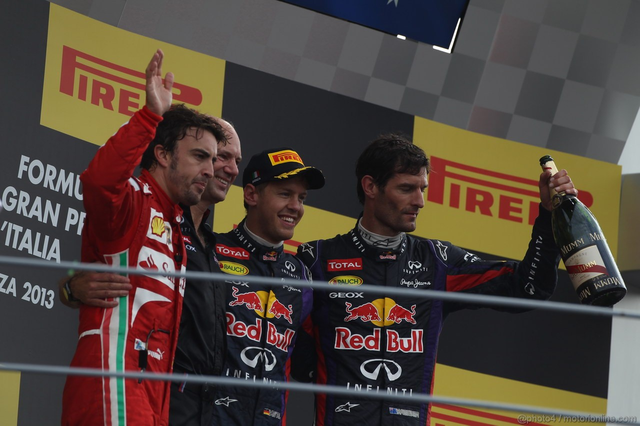 GP ITALIA, Podium: Sebastian Vettel (GER) Red Bull Racing RB9 (vincitore), Fernando Alonso (ESP) Ferrari F138 (secondo) e Mark Webber (AUS) Red Bull Racing RB9 (terzo)