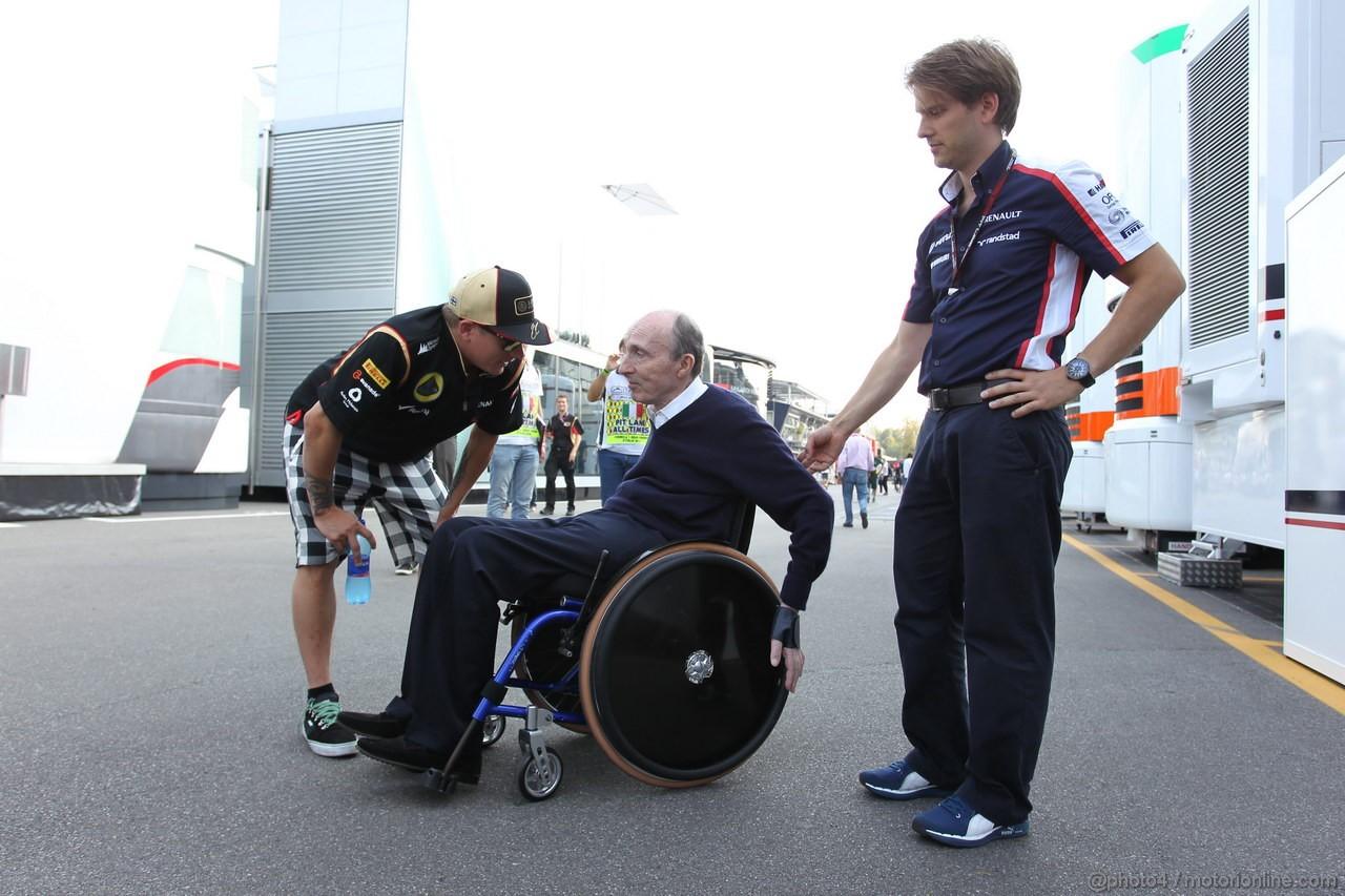 GP ITALIA, 06.09.2013- Kimi Raikkonen (FIN) Lotus F1 Team E21 with  Sir Frank Williams (GBR),Team Principal Williams F1 Team