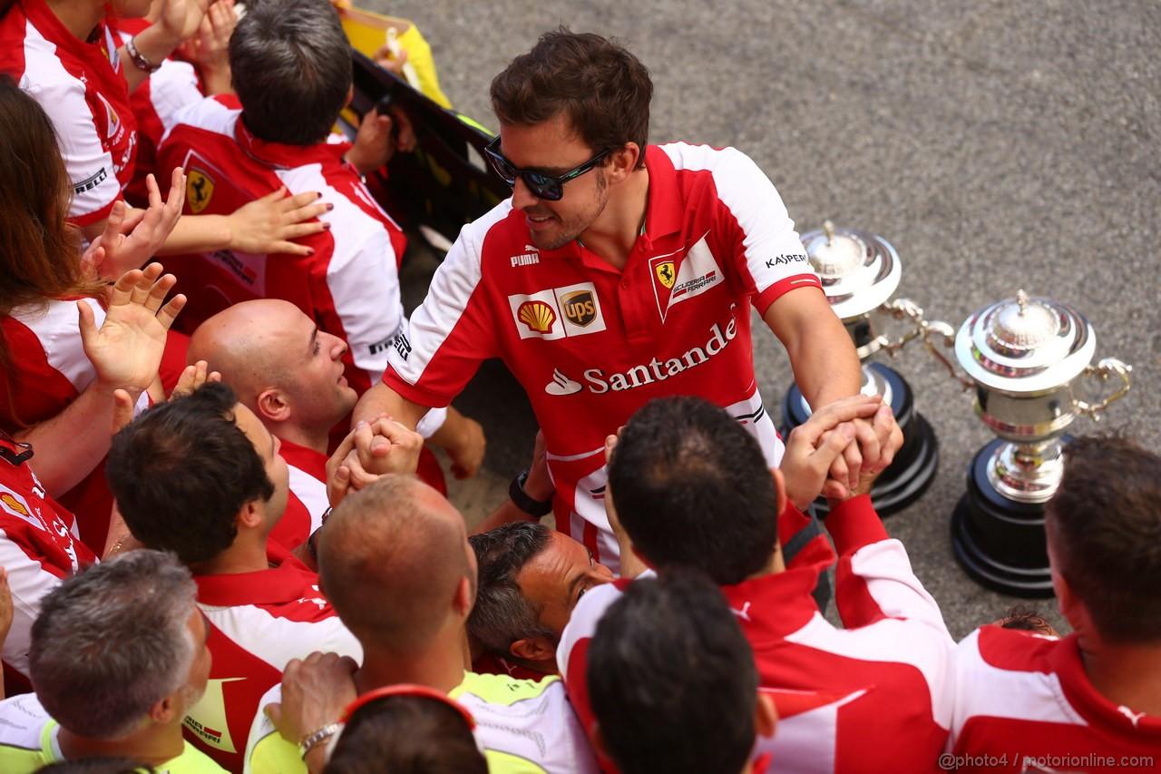 GP SPAGNA, 12.05.2013-  Gara, Festeggiamenti, Fernando Alonso (ESP) Ferrari F138 vincitore e terzo Felipe Massa (BRA) Ferrari F138