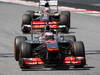 GP SPAGNA, 12.05.2013-  Gara, Jenson Button (GBR) McLaren Mercedes MP4-28 davanti a Nico Hulkenberg (GER) Sauber F1 Team C32