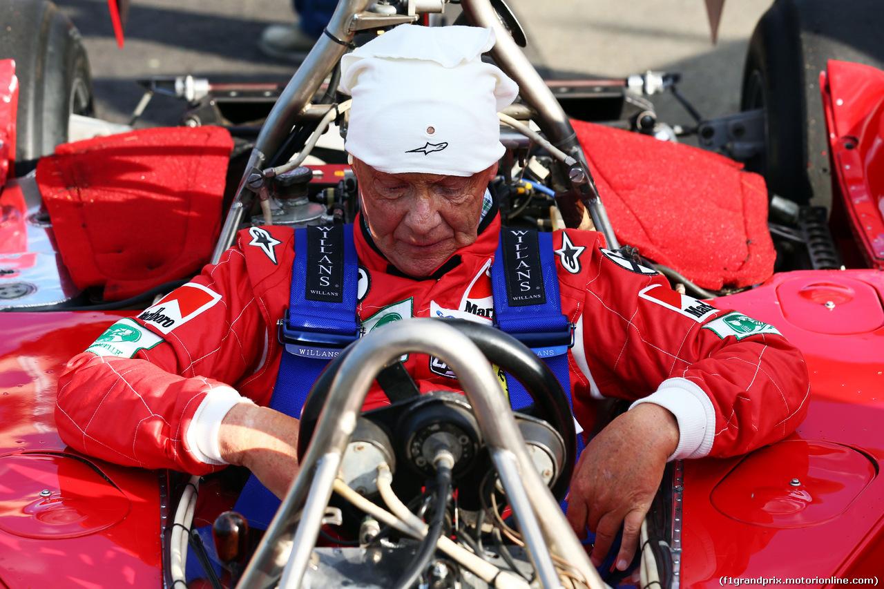GP AUSTRIA, 21.06.2014- Niki Lauda (AUT) Mercedes Non-Executive Chairman is reunited with his Ferrari 312T2.