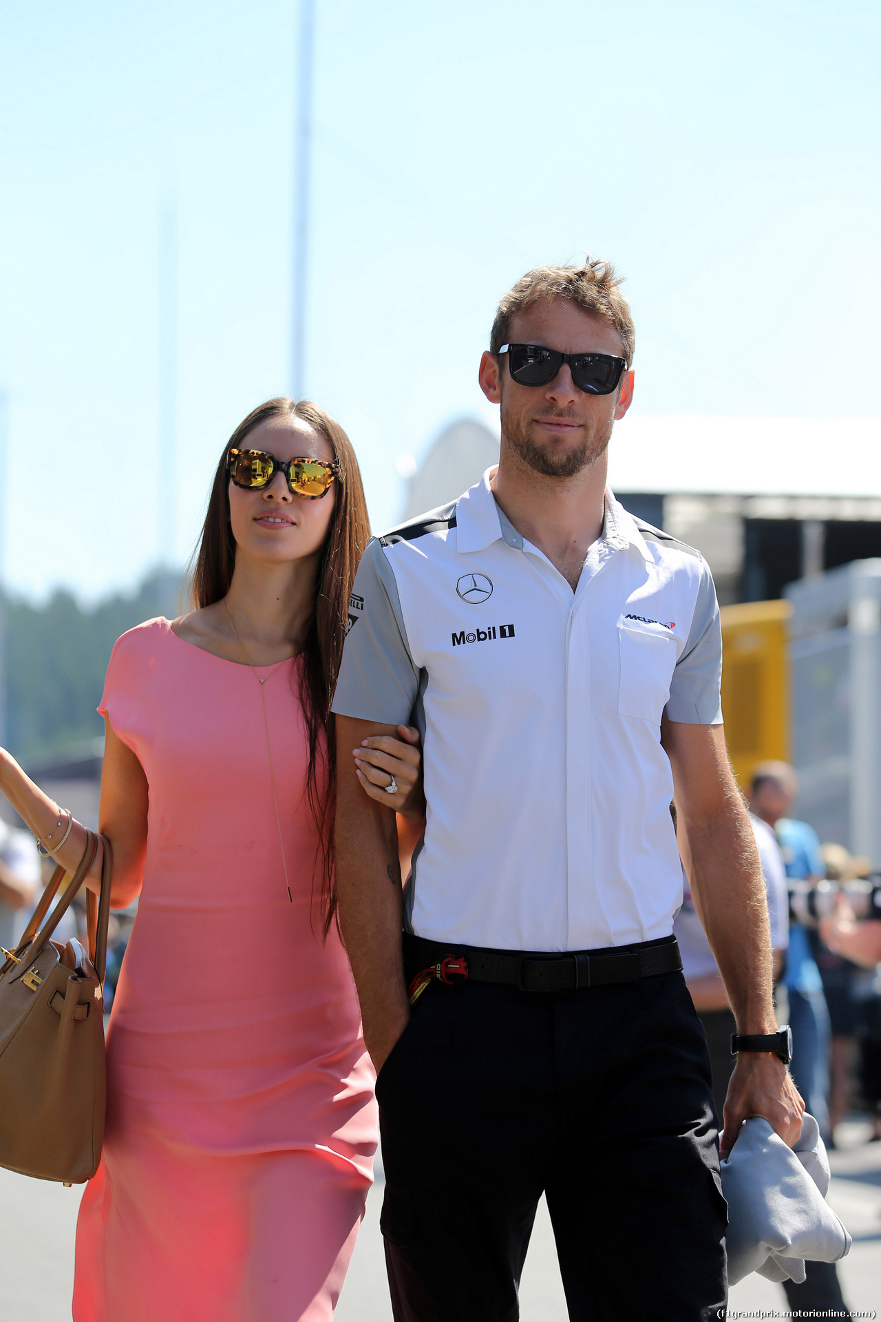 GP AUSTRIA, 22.06.2014- Jenson Button (GBR) McLaren Mercedes MP4-29 e Domenica Jessica Michibata (GBR)