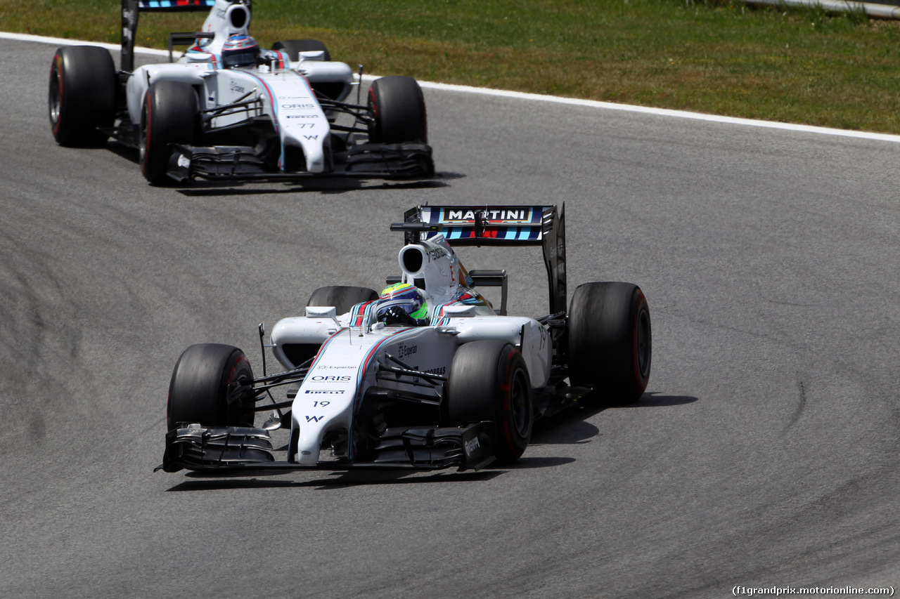 GP AUSTRIA, 22.06.2014- Gara, Felipe Massa (BRA) Williams F1 Team FW36 davanti a Valtteri Bottas (FIN) Williams F1 Team FW36