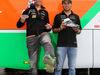 GP AUSTRIA, 19.06.2014- (L to R): Nico Hulkenberg (GER) Sahara Force India F1 e Sergio Perez (MEX) Sahara Force India F1 receive FIFA World Cup themed Alpinestars racing boots