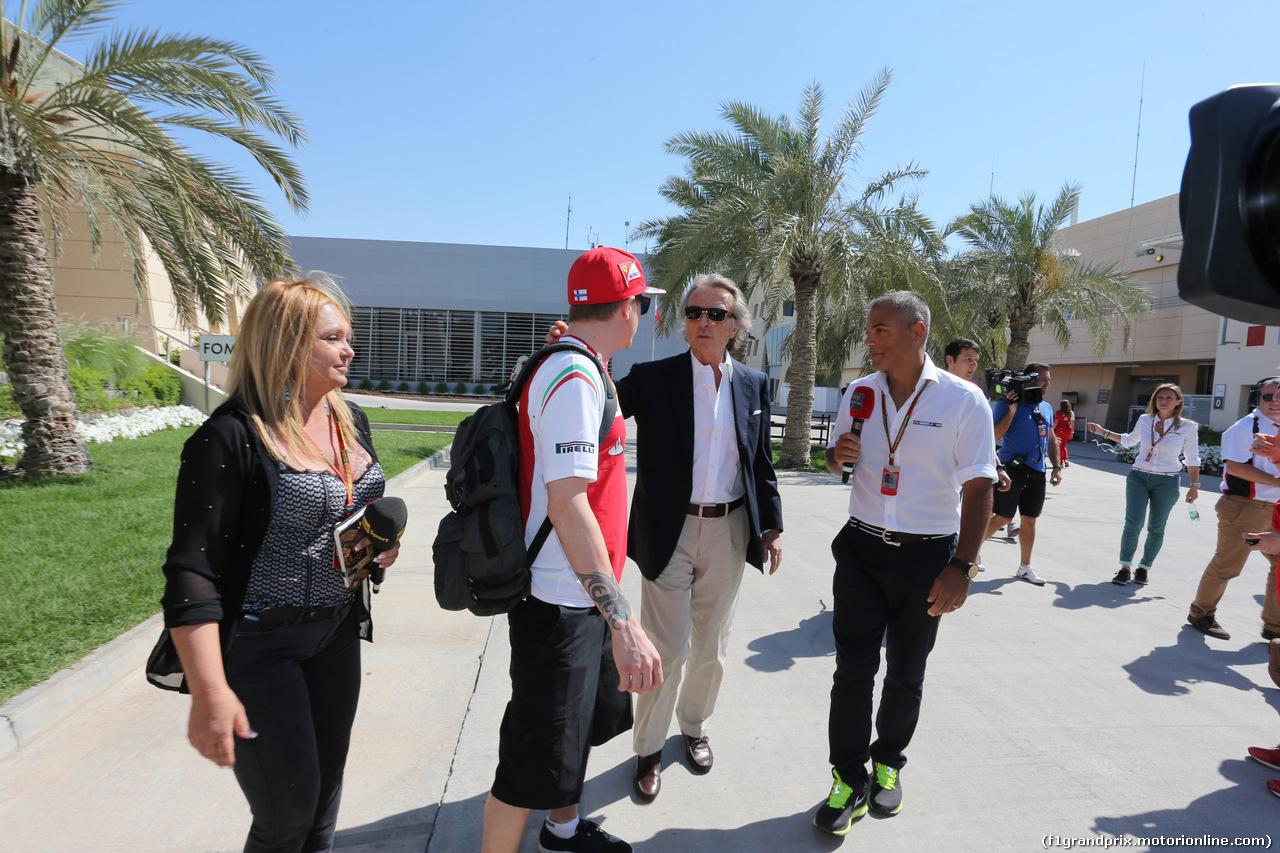 GP BAHRAIN, 06.04.2015- Luca Cordero di Montezemolo (ITA), President Ferrari e Kimi Raikkonen (FIN) Ferrari F147