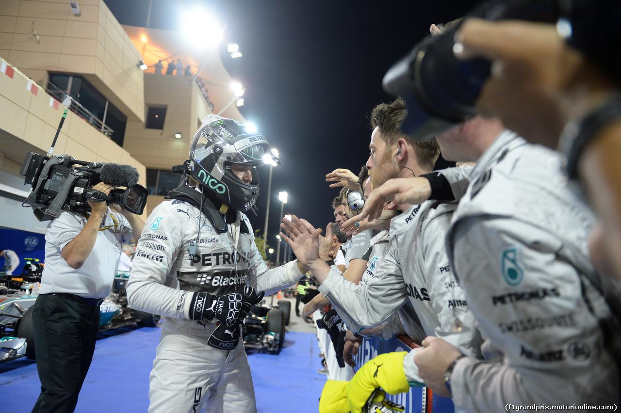 GP BAHRAIN, 06.04.2014- Gara, Nico Rosberg (GER) Mercedes AMG F1 W05 in parc fermee