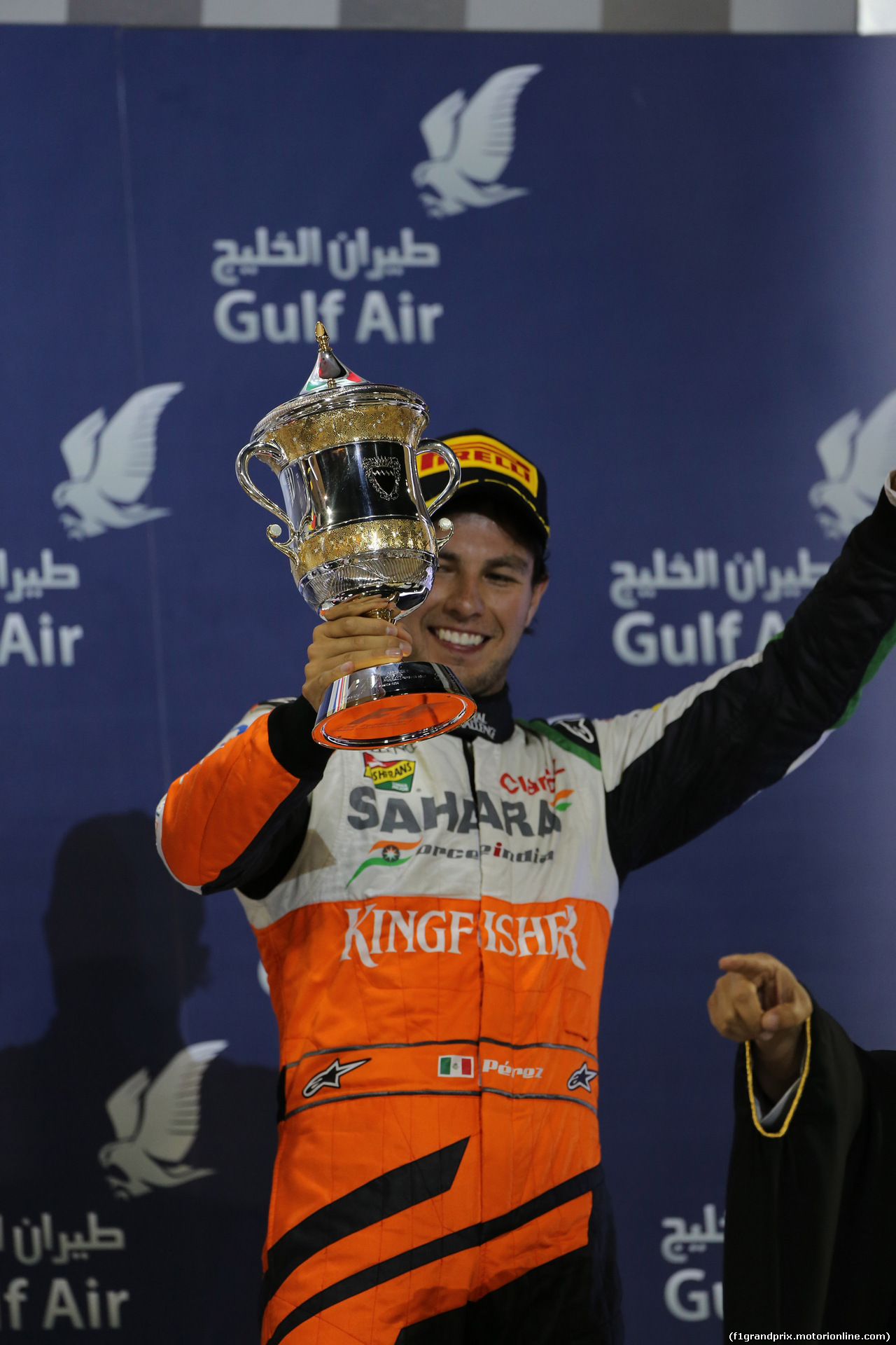 GP BAHRAIN, 06.04.2014-  Podium, 3rd Sergio Perez (MEX) Sahara Force India F1 Team VJM07