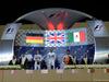 GP BAHRAIN, 06.04.2014- Podium, winner Lewis Hamilton (GBR) Mercedes AMG F1 W05, 2nd Nico Rosberg (GER) Mercedes AMG F1 W05 e 3rd Sergio Perez (MEX) Sahara Force India F1 Team VJM07