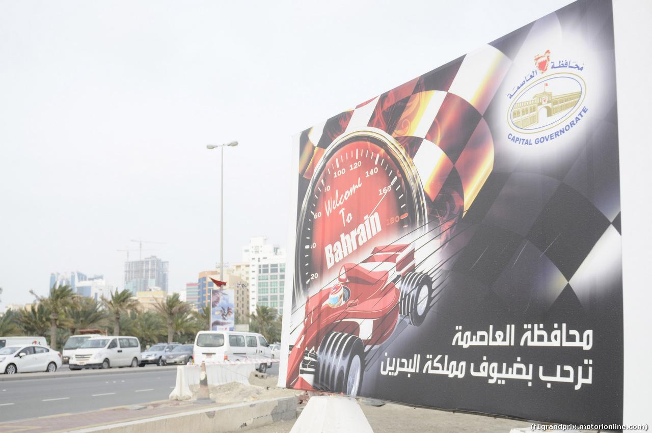 GP BAHRAIN, 03.04.2014- Atmosphere of Manama: f1 banners
