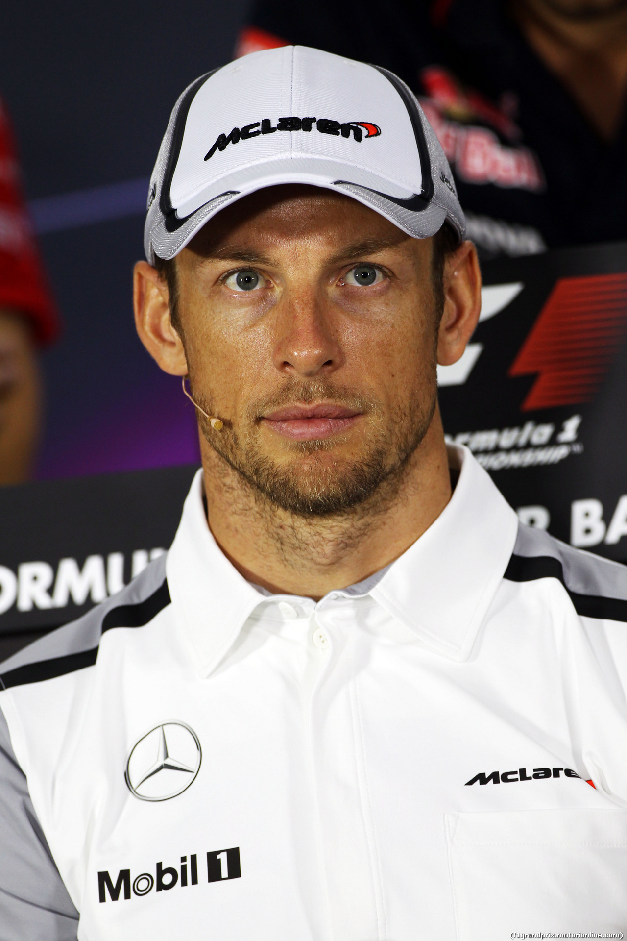 GP BAHRAIN, Jenson Button (GBR) McLaren in the FIA Press Conference. 03.04.2014. Formula 1 World Championship, Rd 3, Bahrain Grand Prix, Sakhir, Bahrain, Preparation Day.